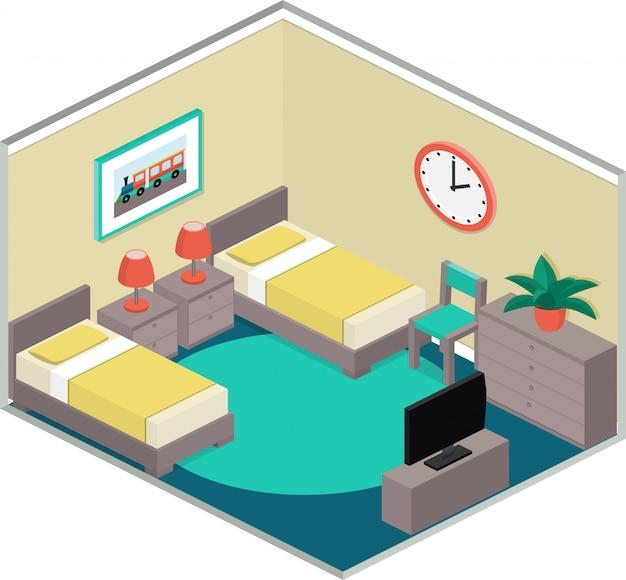 アイソメ図スタイルでカラフルな寝室のインテリア、