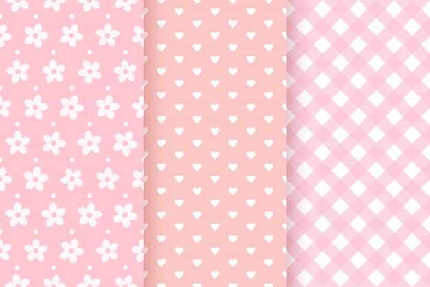 赤ちゃんの女の子のピンクのパターン。ベビーシャワーのシームレスな背景。図。