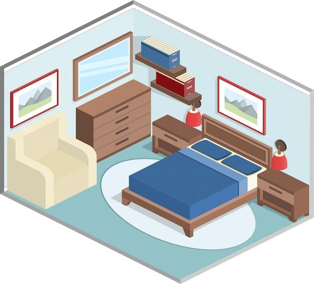 アイソメ図スタイルの寝室のインテリア、