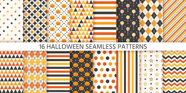 Хэллоуин бесшовные модели. иллюстрации. геометрическая оберточная бумага.