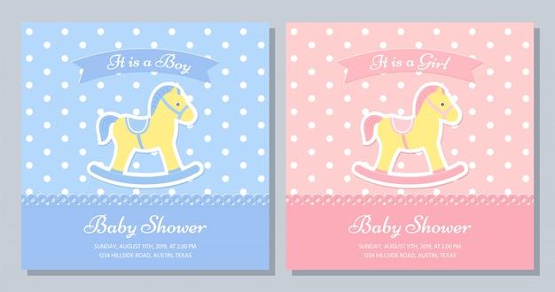 ベビーシャワーカードのデザイン。図。誕生日テンプレートの招待状。