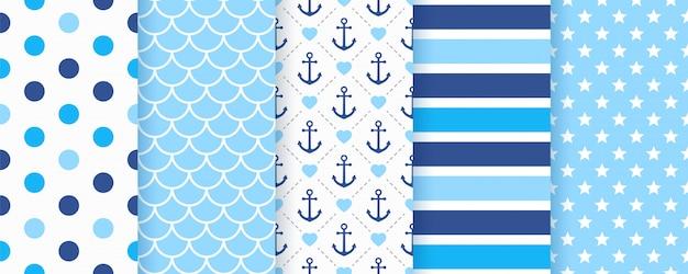 航海、海洋のシームレスなパターン。図。海の背景。