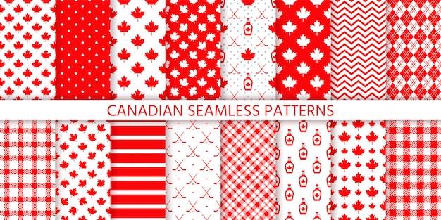 Канада бесшовные модели. иллюстрации. счастливый день канады текстуры с кленовым листом.