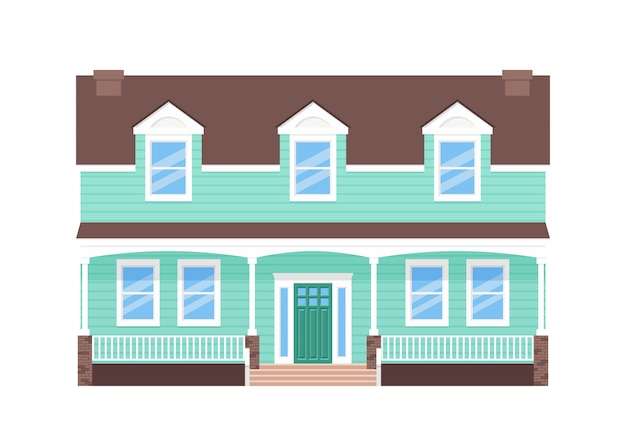 家の外観、家の正面、ドア、屋根、窓のある正面の建物
