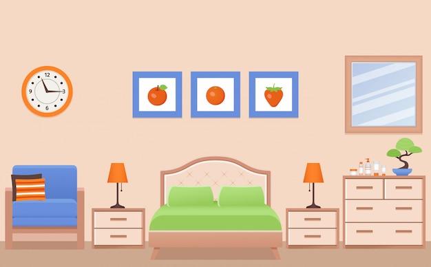 Спальня, интерьер гостиничного номера с кроватью. иллюстрация.