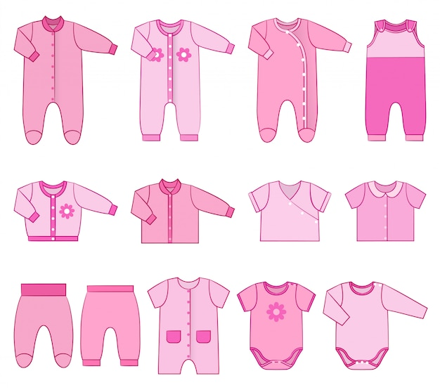 Детская одежда для новорожденных девочек. иллюстрации.