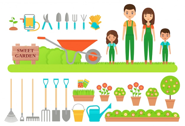 Садовник персонажей, садовый инвентарь. плоская иллюстрация.
