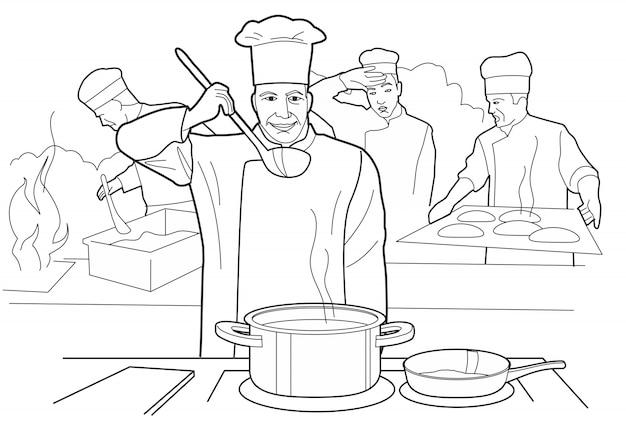 シェフがスープを試します。レストランのテーブルで数字と調理プロセス