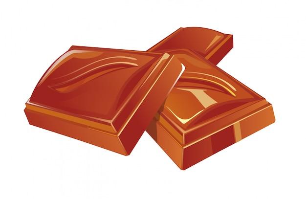Три кусочка шоколада. плоская цветная иллюстрация