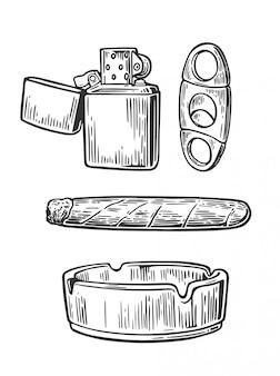 Зажигалка, сигара, пепельница, гильотины для сигар. набор старинных элементов курить табак. старинные гравированные черные иллюстрации на белом фоне.