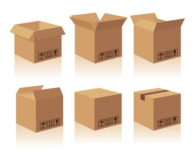 Открытая и закрытая упаковка из коричневой картонной коробки с хрупкими знаками. коллекция иллюстрации изолированных поле с тенью на белом фоне для веб, значок, баннер, инфографики