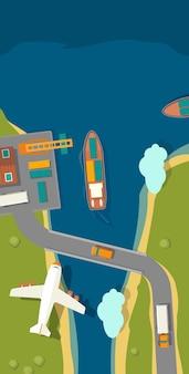 Грузовой порт. корабль, гавань, море, лодка, кран, док, самолет трек