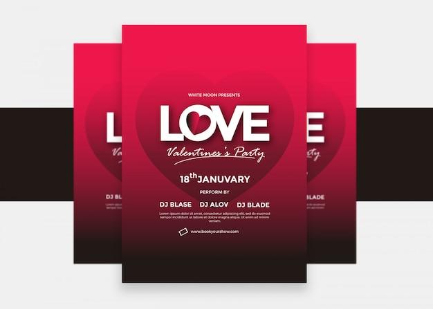 カラフルな創造的な現代愛バレンタインチラシデザイン