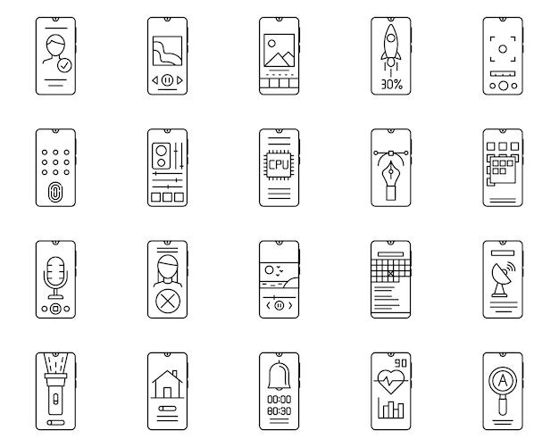スマートフォンの簡単なセット関連のベクトル線アイコン