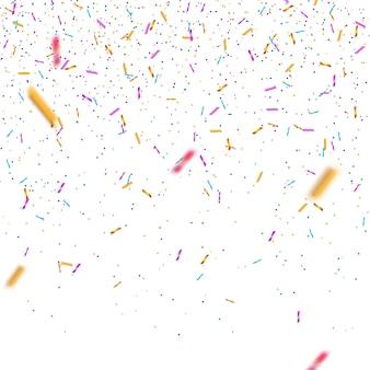 分離されたカラフルな明るい紙吹雪。お祝いベクトル図
