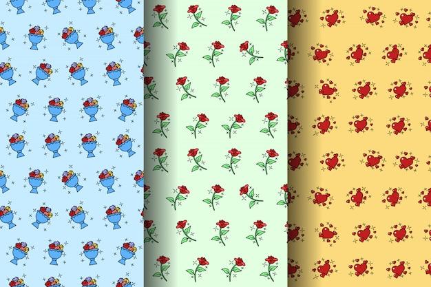 Бесшовные милые розы, мороженое и сердце в разных слоях