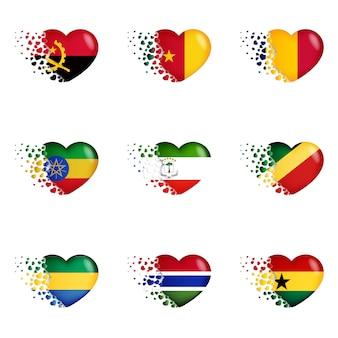 ハートのイラストの国旗。国への愛を込めて。小さな心を飛び出すの国旗