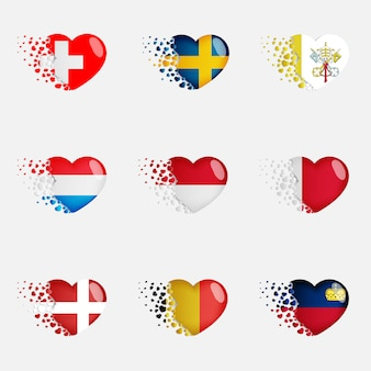 心の中でヨーロッパの国旗のセット