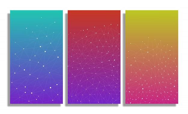 影で多角形の表面を抽象化し、点と線を接続して設計します。接続三角形構造。