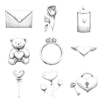 手のセットは、白い背景にスケッチ風のスタイルでバレンタインデーの要素を描画します。スケッチ図