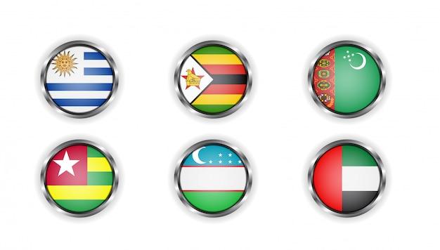 Стальные круглые кнопки с флагами стран того, уругвая, туркменистана, объединенных арабских эмиратов, уругвая, узбекистана и зимбабве