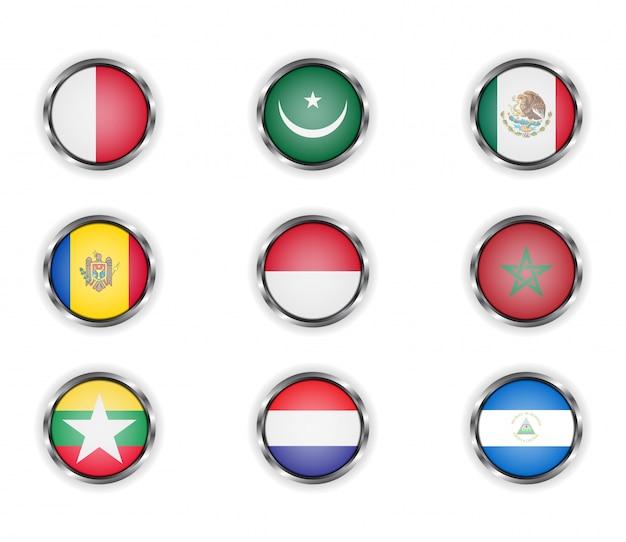 国旗の金属フレーム付きボタン。