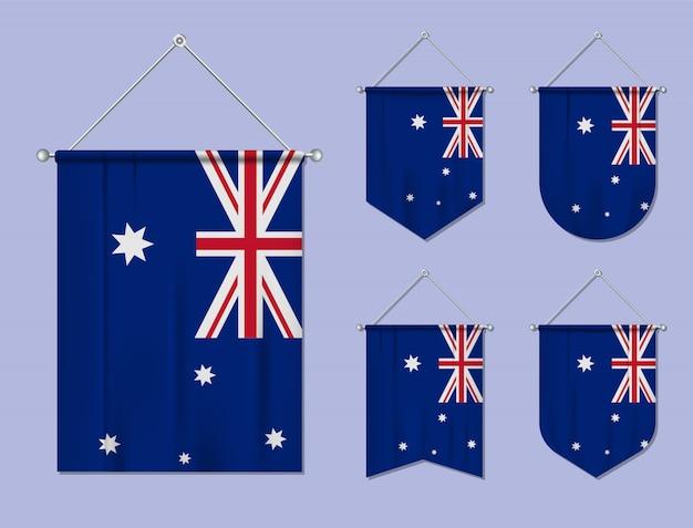繊維テクスチャと掛かるフラグオーストラリアのセットです。国旗の国の多様性の形。縦型テンプレートペナント