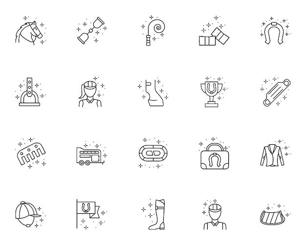 Верховая езда набор контурных иконок