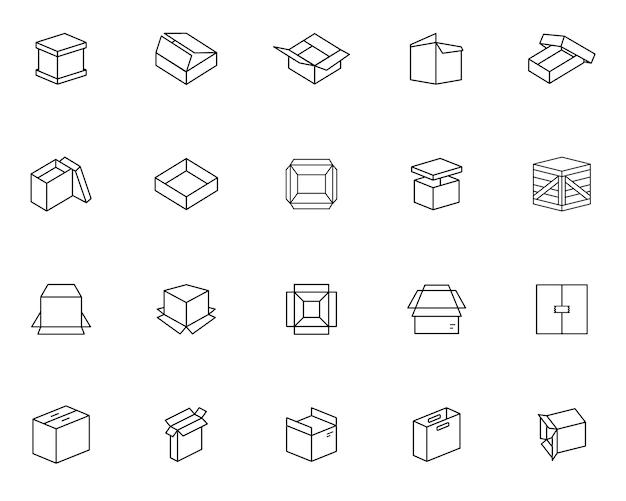 Простой набор упаковочной коробки, связанной значки в стиле линии