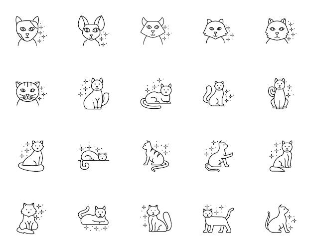 線スタイルの猫関連アイコンのシンプルなセット