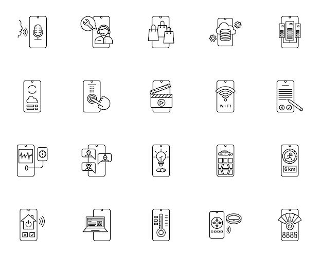 Простой набор мобильных технологий связанных иконок в стиле линии