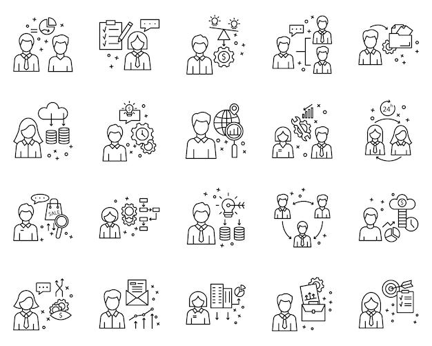 Простой набор бизнес-элементов, связанных значки векторной линии