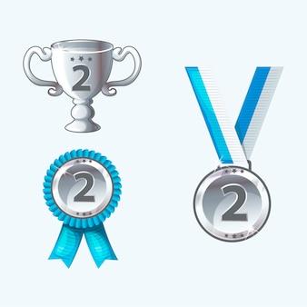 Набор серебряных медалей и наград, трофей