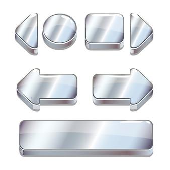 Векторный мультфильм серебряные кнопки для игры или веб-дизайна