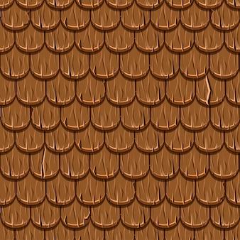 茶色の木製の古い屋根屋根瓦シームレス