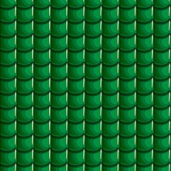 漫画の緑の屋根タイルのシームレスな背景
