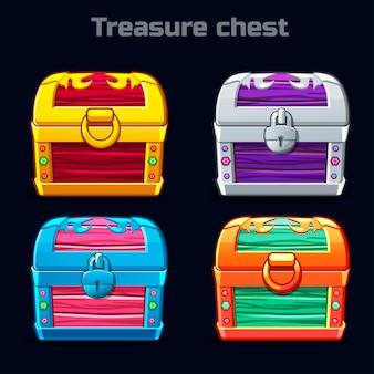 さまざまな色の漫画アンティーク宝箱