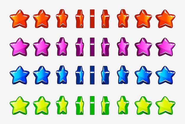 Мультяшный набор разноцветных звездочек, анимационная пошаговая игра вращение