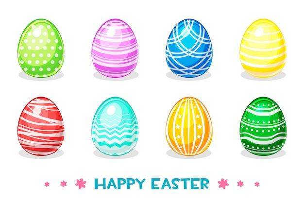 Мультяшный цветные пасхальные яйца с разными украшениями