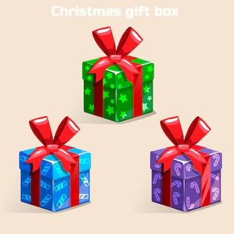 Цветная новогодняя подарочная коробка