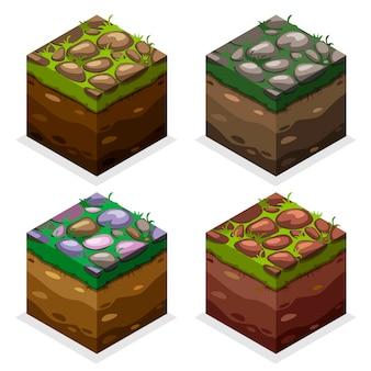色ゲームブロック等尺性キューブ、自然の果てしない土地、草の上の石