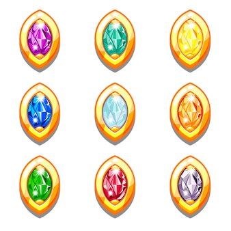 Векторные красочные золотые амулеты с бриллиантами