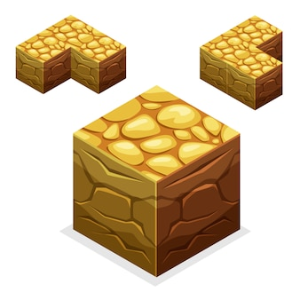 ゲームブロック等尺性キューブ、自然の果てしない土地と石