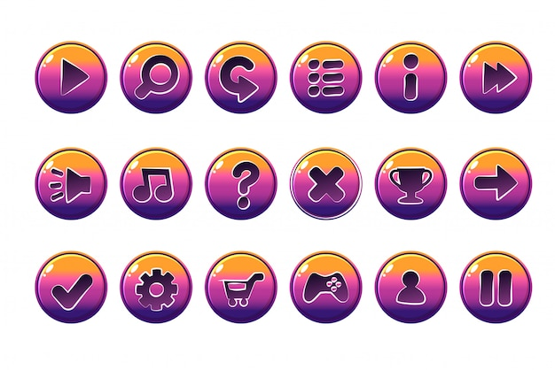 Глянцевые кнопки для всех видов казуальных, мультяшных элементов для игровых активов