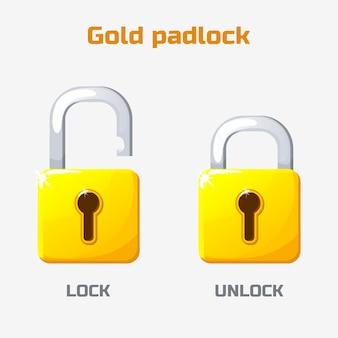 漫画の金の南京錠。ロックおよびロック解除。