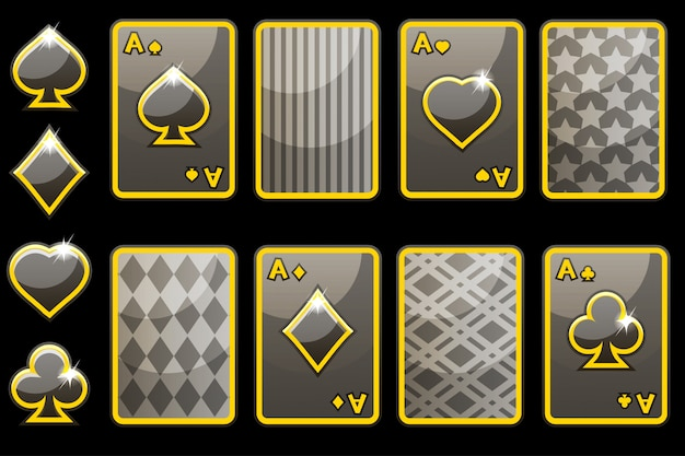 Мультяшный черный четыре покер игровые карты и карты обратно. элементы графического интерфейса