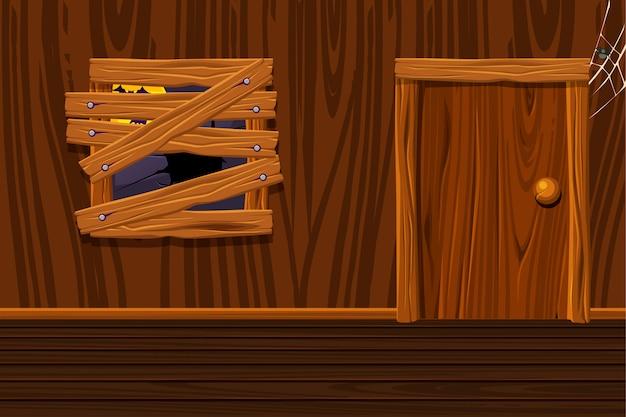 Деревянный дом, иллюстрация интерьер комнаты со старым окном и дверью