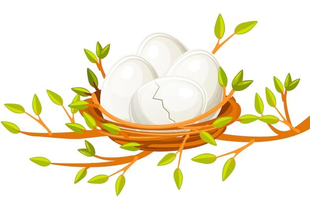 小枝の鳥の巣の漫画面白い卵
