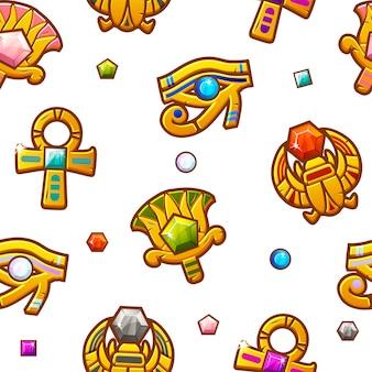 色の貴重な宝石とのシームレスなパターンエジプトのシンボル