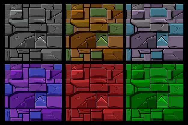 Установите бесшовные геометрические текстуры камня, фон плитки каменной стеной. иллюстрация для пользовательского интерфейса игрового элемента